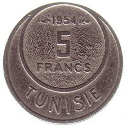 Pièce > 5francs, 1954-1957 - Tunisie  - reverse
