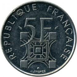 Moneda > 5francs, 1989 - França  (100è aniversari - Torre Eiffel) - obverse