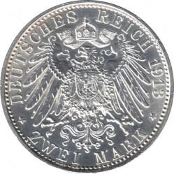 Moneda > 2marcos, 1913 - Alemán (Imperio)  (25º Aniversario - Ascensión de Guillermo II) - reverse