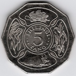 錢幣 > 5先令, 1990-1993 - 坦尚尼亞  - reverse