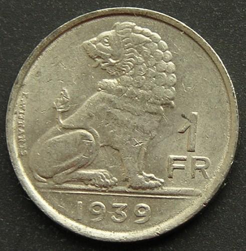 BARGAIN BIN #58 Collectible Coin FREE SHIP 1939 BELGIUM FRANC