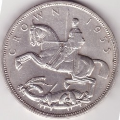 Moneta > 1 korona, 1935 - Wielka Brytania  (25th Anniversary - Reign of George V /medal  alignment, silver 0.500/) - reverse
