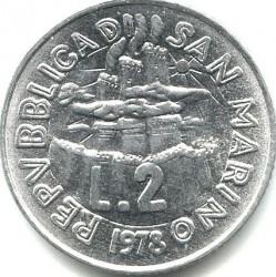 Moneda > 2liras, 1978 - San Marino  (El trabajo) - obverse
