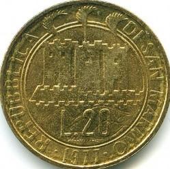 Moneda > 20liras, 1977 - San Marino  (Ecología) - obverse