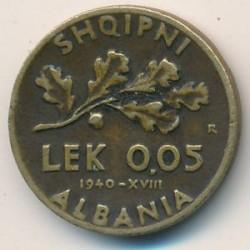 Moneda > 0,05lek, 1940-1941 - Albania  - reverse