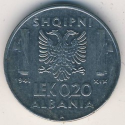 Moneda > 0,2lek, 1941 - Albània  - obverse