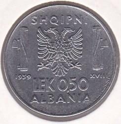 Coin > 0.5lek, 1939-1941 - Albania  - reverse