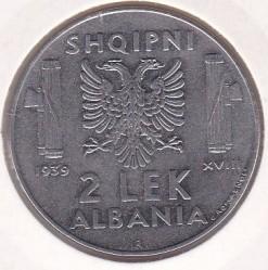 Moneda > 2lekë, 1939 - Albània  (Magnètica) - reverse