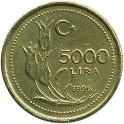 Монета > 5000лири, 1995-1998 - Турция  - reverse