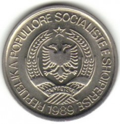 Coin > 2lekë, 1989 - Albania  - obverse