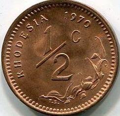 Munt > ½cent, 1970-1977 - Rhodesië  - reverse