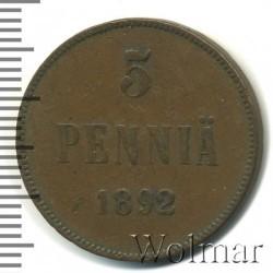 Кованица > 5пенија, 1888-1892 - Финска  - reverse