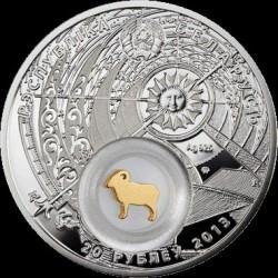 Moneta > 20rubli, 2013 - Białoruś  (Znaki zodiaku - Baran /pozłacany/) - obverse