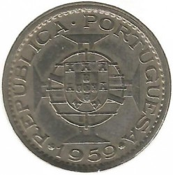 Монета > 60сентавос, 1958-1959 - Индия - Португалска  - obverse