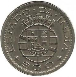 Монета > 60сентавос, 1958-1959 - Индия - Португалска  - reverse