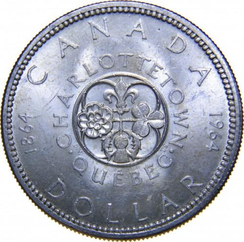 CANADA 1964 SILVER ONE DOLLAR B//U CHARLOTTETOWN QUEBEC COIN #364