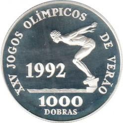 Pièce > 1000dobras, 1990 - Sao Tomé-et-Principe  (XXVes Jeux Olympiques d'été, Barcelone 1992 - Natation) - reverse