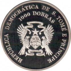 Moneta > 1000dobras, 1996 - São Tomé e Príncipe  (XXVI Giochi olimpici estivi, Atlanta 1996 - Hockey su prato) - obverse