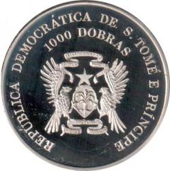 Moneta > 1000dobras, 1996 - São Tomé e Príncipe  (XXVI Giochi olimpici estivi, Atlanta 1996 - Tennis) - obverse
