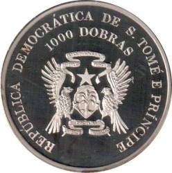 Moneta > 1000dobras, 1996 - São Tomé e Príncipe  (XXVI Giochi olimpici estivi, Atlanta 1996 - Surf) - obverse