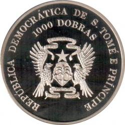 Moneta > 1000dobras, 1996 - São Tomé e Príncipe  (XXVI Giochi olimpici estivi, Atlanta 1996 - Atletica leggera) - obverse