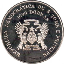Монета > 1000 добри, 1996 - Сао Томе и Принсипи  (XXVI summer Olympic Games, Atlanta 1996 - Karate) - obverse