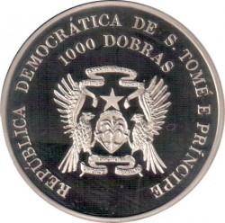 Moneta > 1000dobras, 1996 - São Tomé e Príncipe  (XXVI Giochi olimpici estivi, Atlanta 1996 - Boxe) - obverse