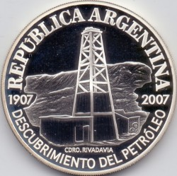 Moneda > 1peso, 2007 - Argentina  (100º Aniversario - Primer Pozo de Petróleo en Argentina) - obverse