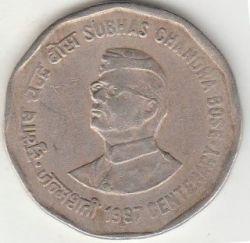 Moneda > 2rupias, 1997 - India  (100th Anniversary - Birth of Subhas Chandra Bose) - reverse
