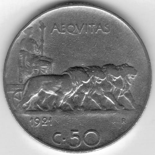 Italia 50 centesimi 1921 km 61 catalogo coniazioni for Moneta 50 centesimi