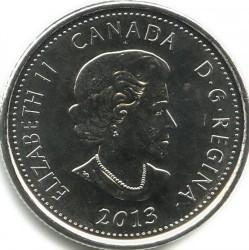 Moneda > 25centavos, 2013 - Canadá  (Guerra del 1812 - Laura Secord, A colores) - obverse