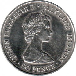 Moneta > 50pence, 1980 - Falkland (Isole)  (80° Anniversario - Nascita della Regina madre) - obverse