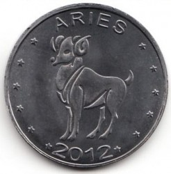 Moneda > 10 chelines, 2012 - Somalilandia  (Signs of the Zodiac Series - Aries /Nickel plated steel/) - obverse