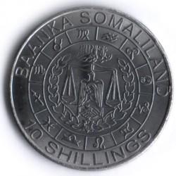Moneta > 10szylingów, 2012 - Somaliland  (Znaki zodiaku - Baran /stal pokryta niklem/) - obverse