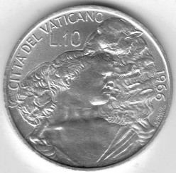 Moneta > 10lire, 1966 - Vaticano  - obverse