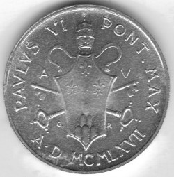 Монета > 1лира, 1967 - Ватикан  - reverse