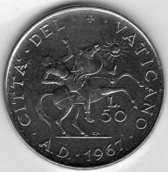 Moneda > 50liras, 1967 - Ciudad del Vaticano  - reverse