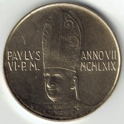 Monēta > 20liru, 1969 - Vatikāns  - reverse