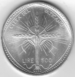 Monēta > 500liru, 1968 - Vatikāns  - obverse