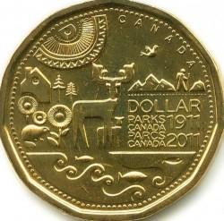 Mynt > 1dollar, 2011 - Canada  (100th Anniversary of Parks Canada) - reverse
