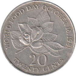 Moneta > 20centesimi, 1981-1988 - Giamaica  (FAO - Giornata mondiale dell'alimentazione del 16 Ottobre 1981/lettering JAMAICA largo/) - reverse