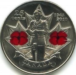 Moneda > 25centavos, 2010 - Canadá  (65 aniversario de la Segunda Guerra Mundial) - reverse