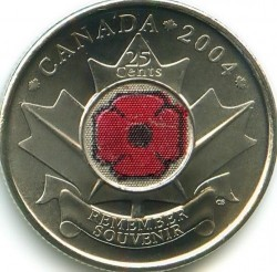 Coin > 25 cents (quarter), 2004 - Canada  (Remembrance Day) - reverse