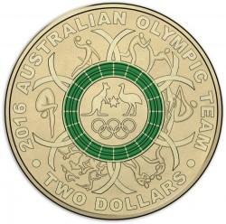 Монета > 2доллара, 2016 - Австралия  (XXXI летние Олимпийские Игры, Рио-де-Жанейро 2016 /зелёное кольцо/) - reverse