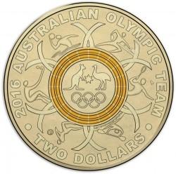 Монета > 2доллара, 2016 - Австралия  (XXXI летние Олимпийские Игры, Рио-де-Жанейро 2016 /жёлтое кольцо/) - reverse