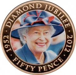 Moneta > 50pence, 2012 - Guernsey  (60° anniversario - Regno della regina Elisabetta II) - reverse