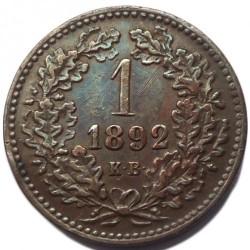 Moeda > 1krajcar, 1891-1892 - Hungria  - reverse