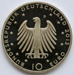 Moeda > 10euro, 2013 - Alemanha  (Bicentenário do Nascimento do Compositor Richard Wagner) - obverse