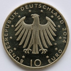 Moeda > 10euro, 2014 - Alemanha  (150 Anos do Nascimento do Compositor Richard Strauss ) - obverse