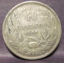 Coin > 40centavos, 1907-1908 - Chile  - reverse